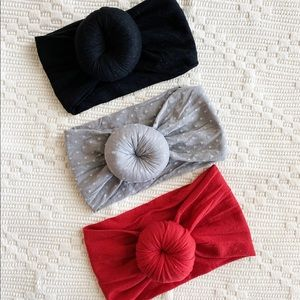 Other - SET OF 3 Top Knot Baby Headbands